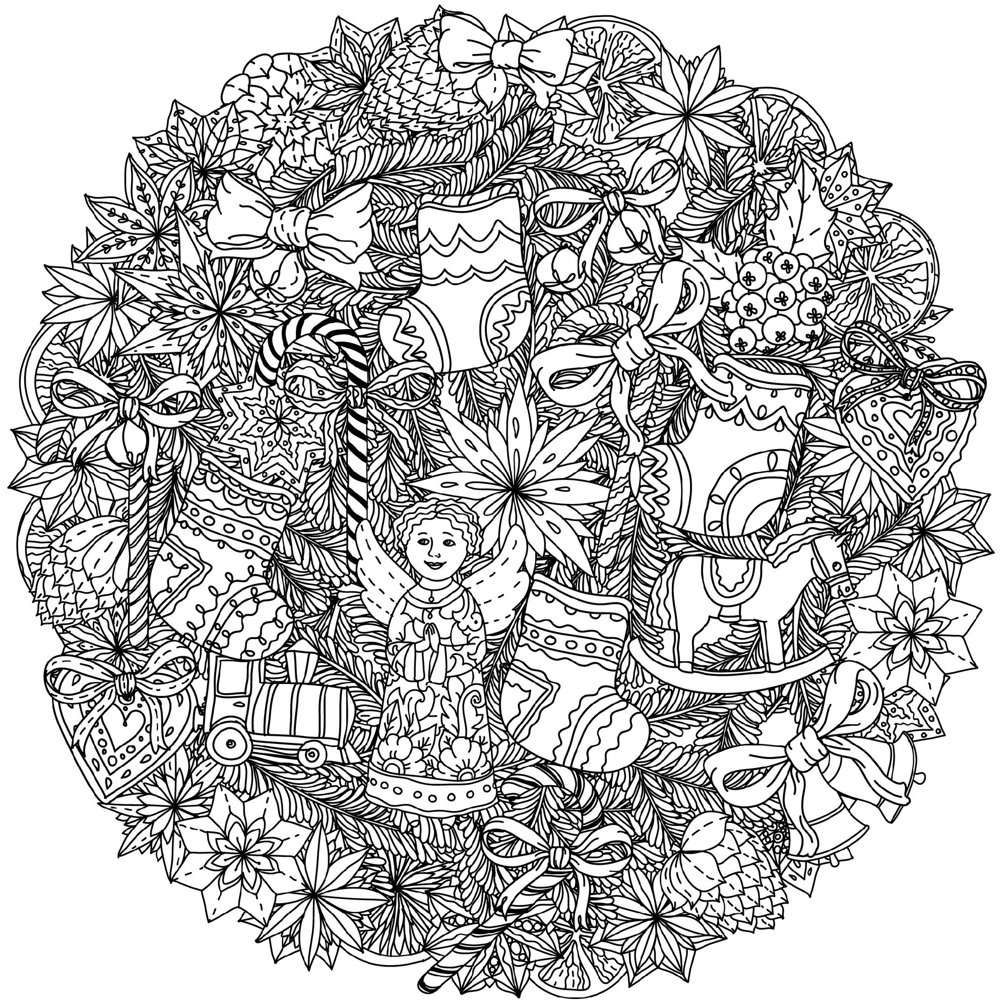 Christmas Coloring Pages For Adults Mandala