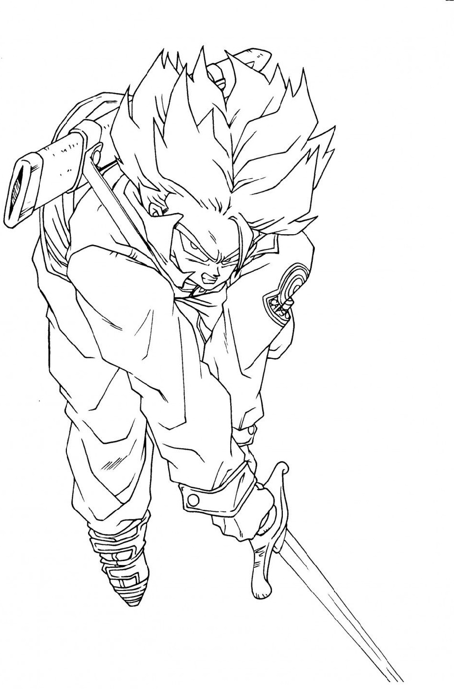 Dragon Ball Super Coloring Pages Saiyan Trunks