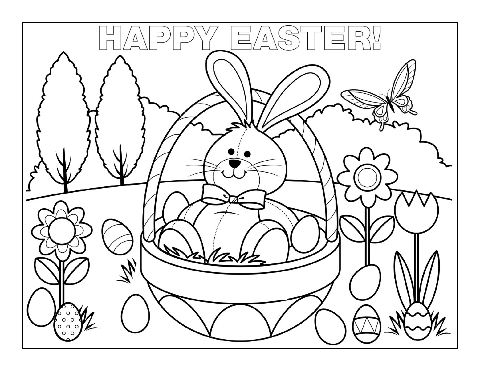 Free Easter Coloring Pages Happy Easter