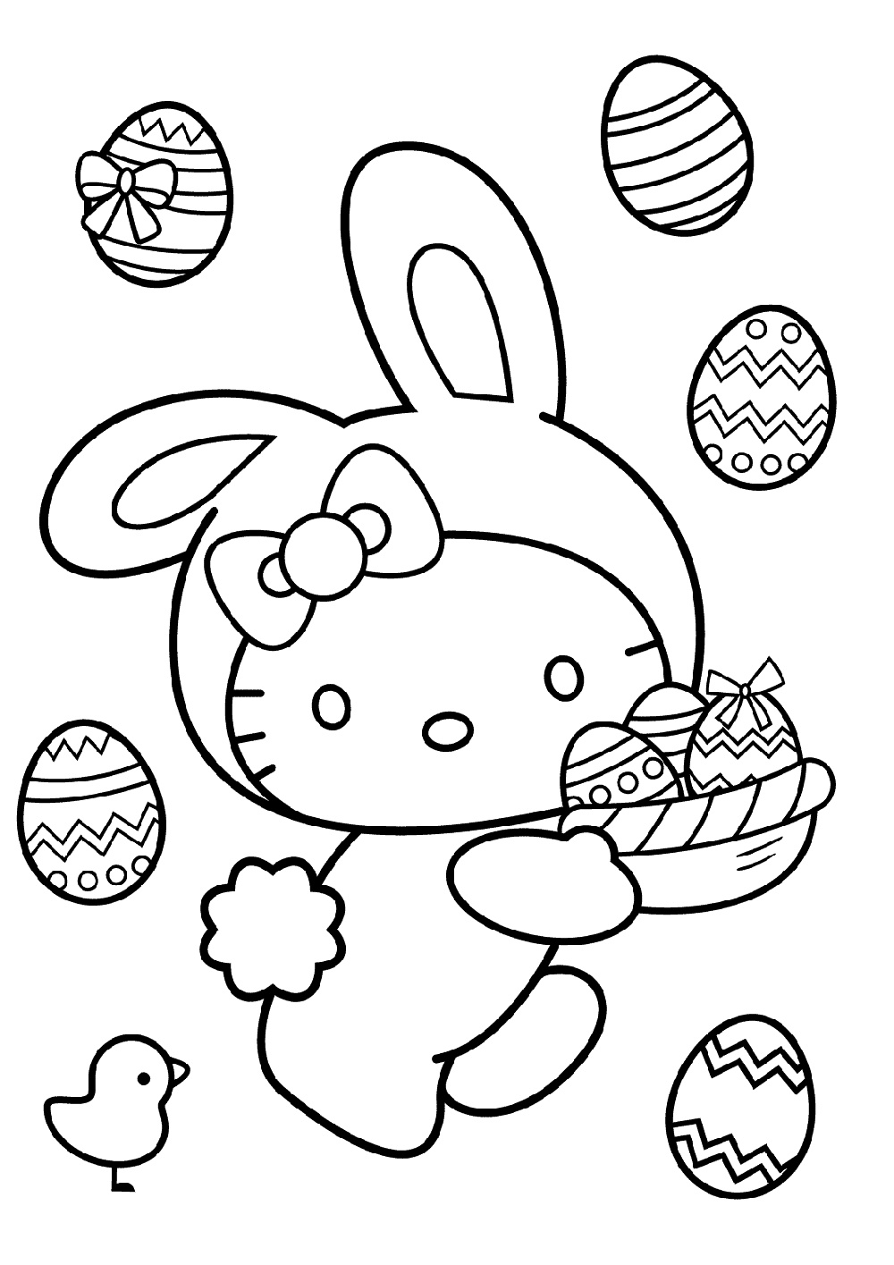 Free Easter Coloring Pages Hello Kitty