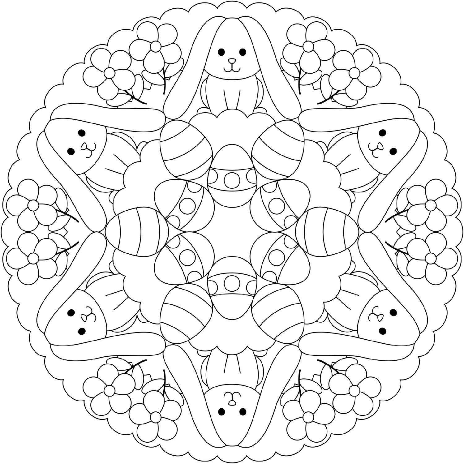 Free Easter Coloring Pages Mandala