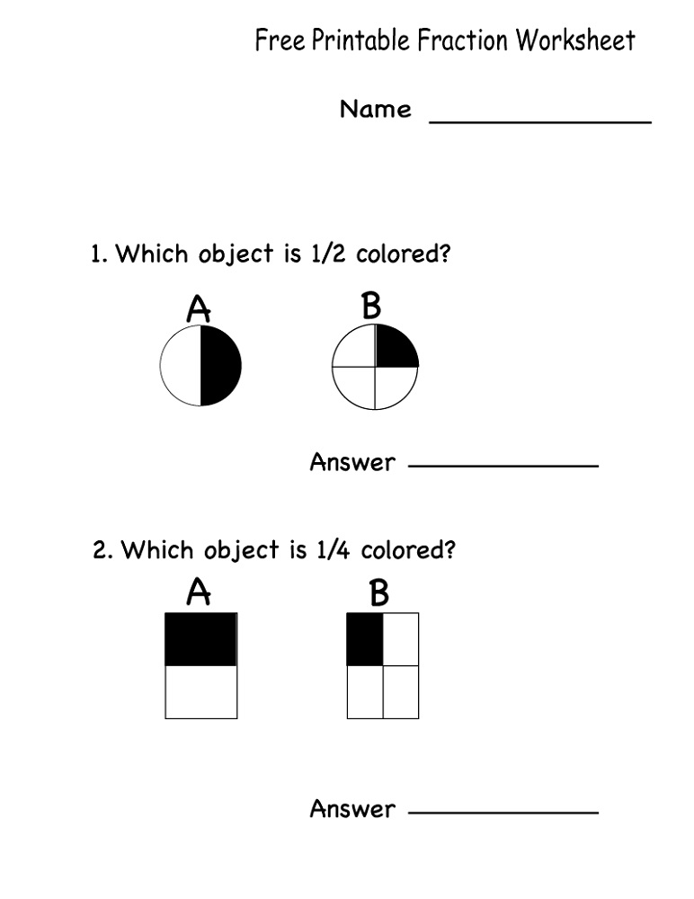 Free Math Worksheets To Print Fraction