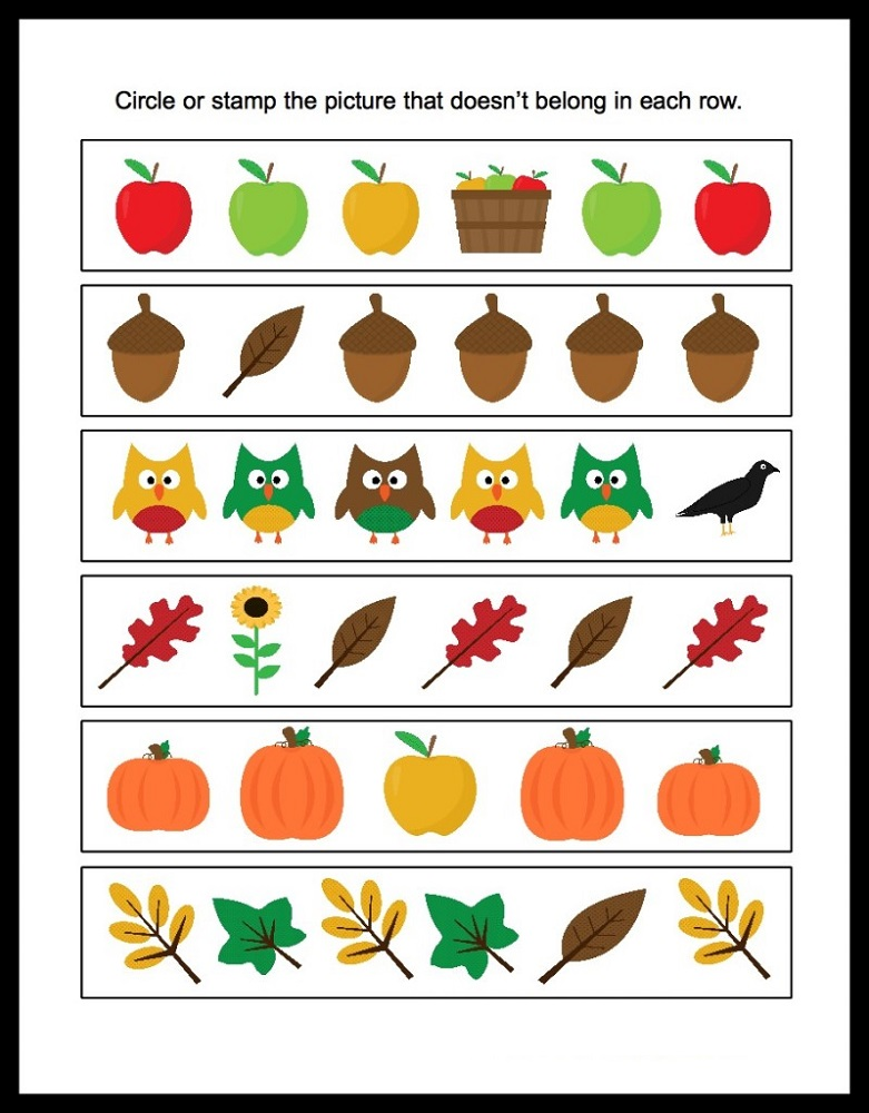 Free Printable Pages For Preschoolers Different