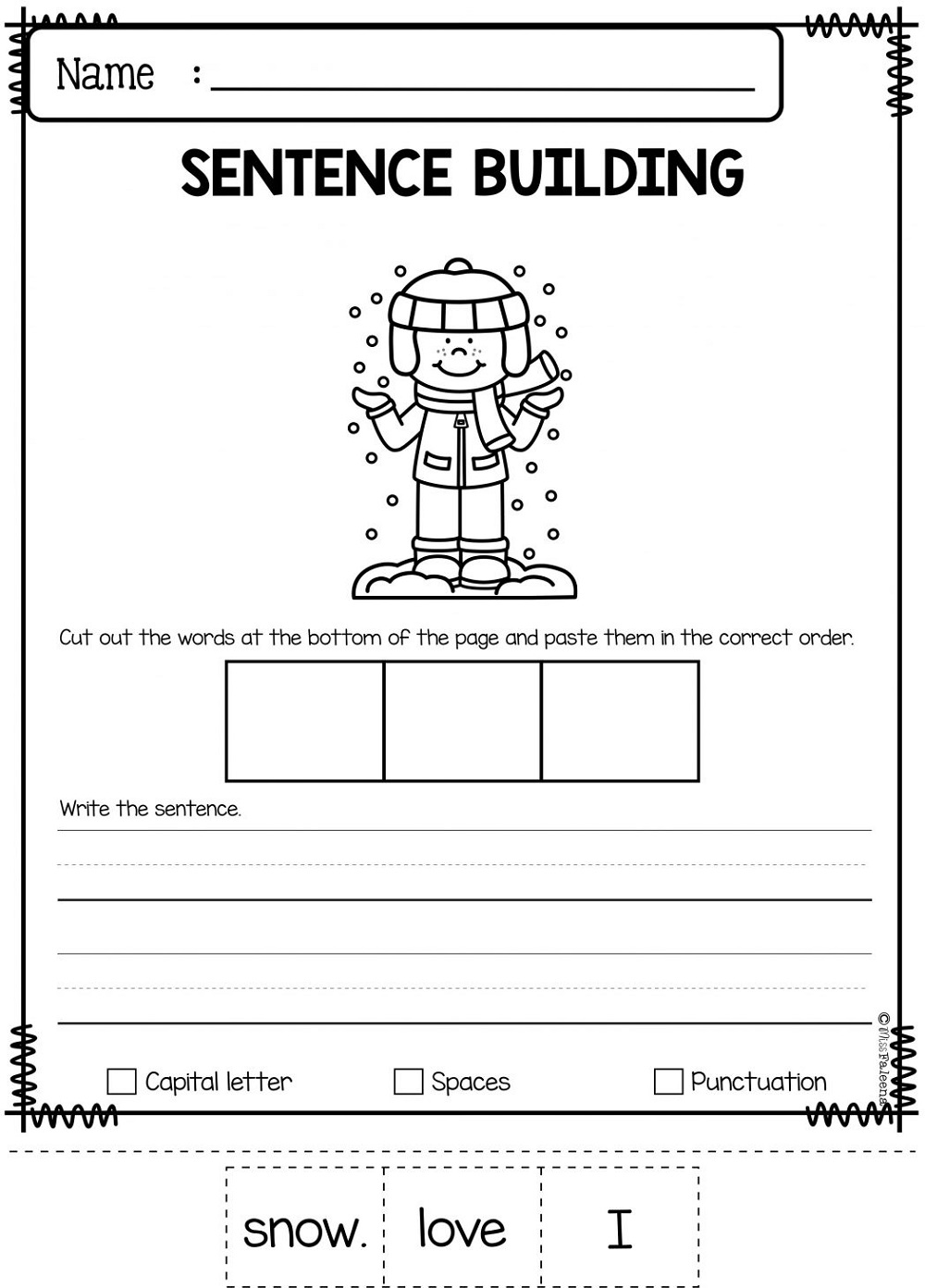 Free Printable Worksheets For Elementary Students Sentence Building