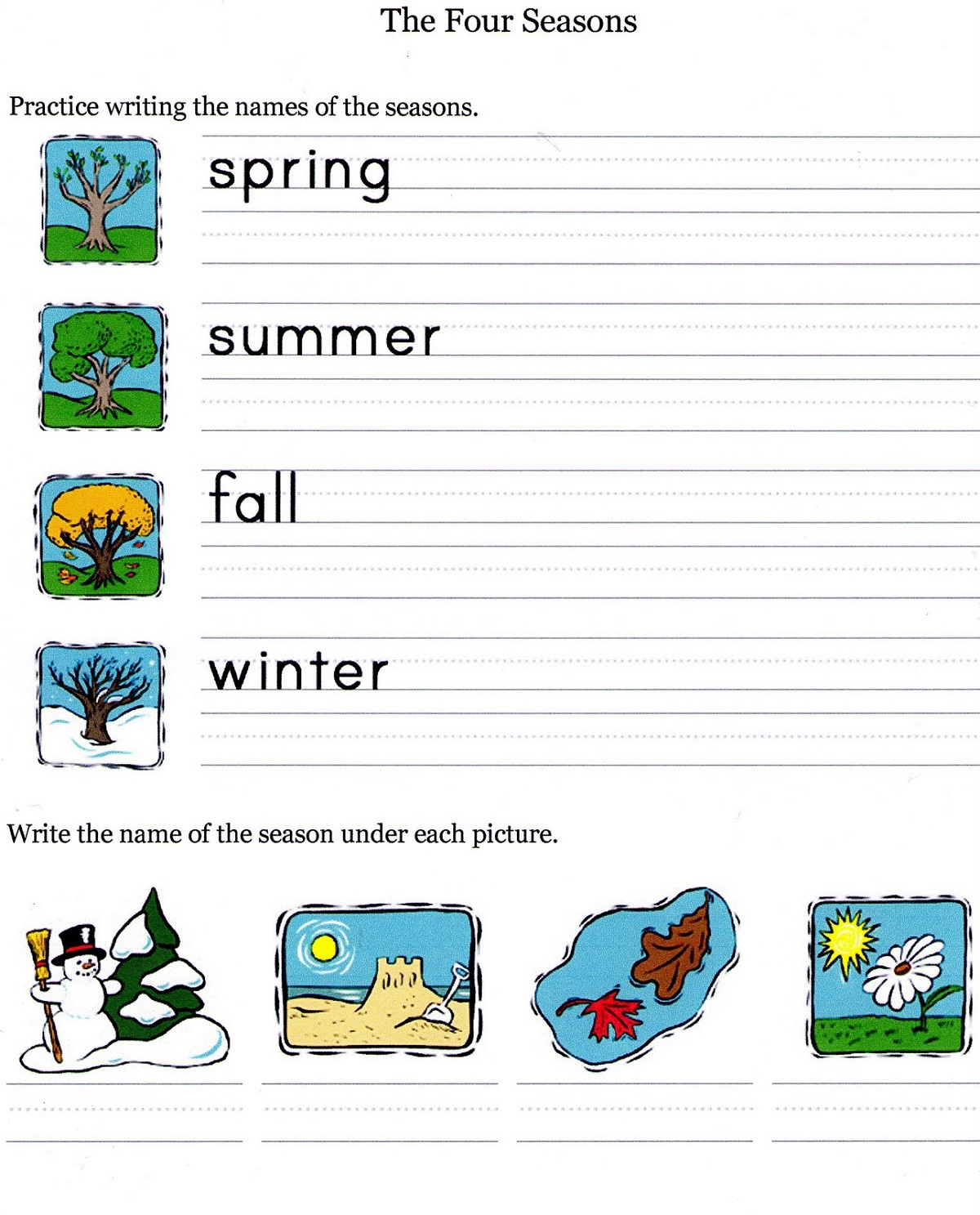 Free Student Worksheets Seasons