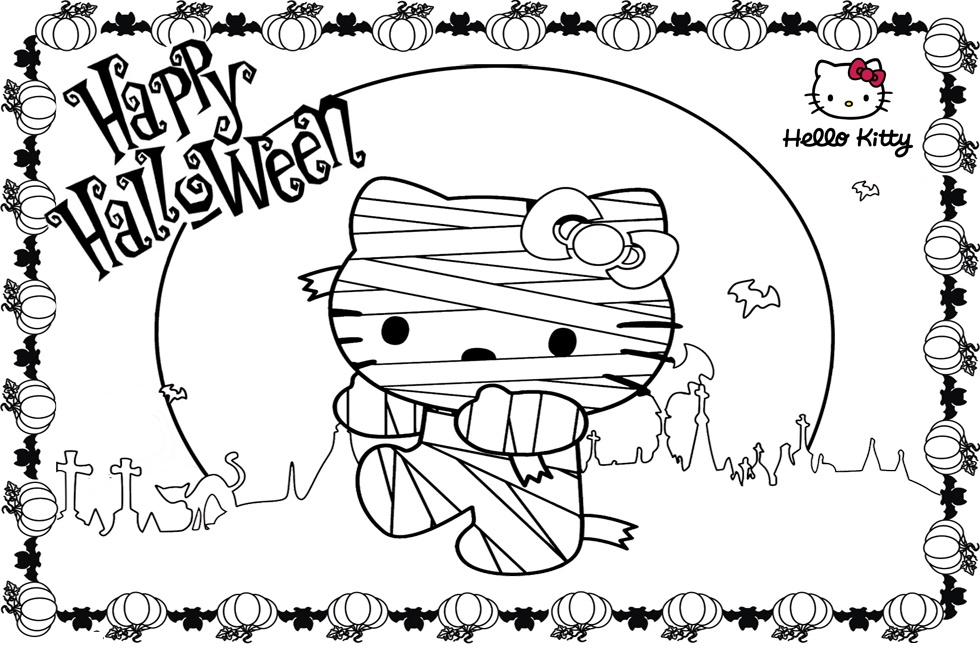 Hello Kitty Halloween Coloring Pages Mummy