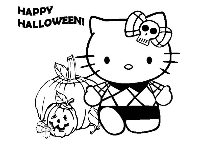 Hello Kitty Halloween Coloring Pages Pumpkin