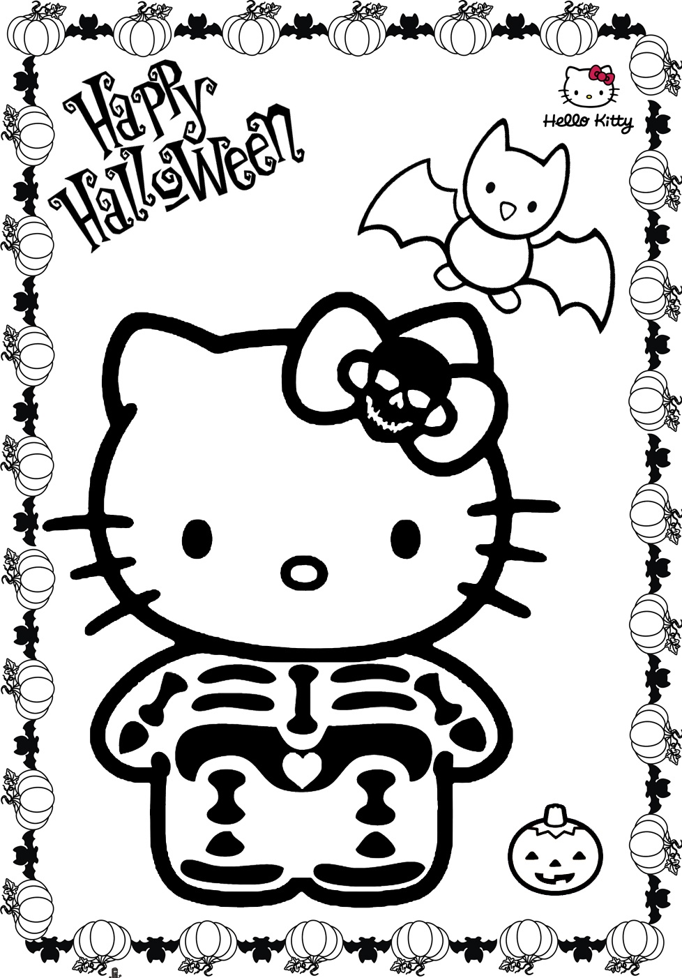 Hello Kitty Halloween Coloring Pages Skeleton