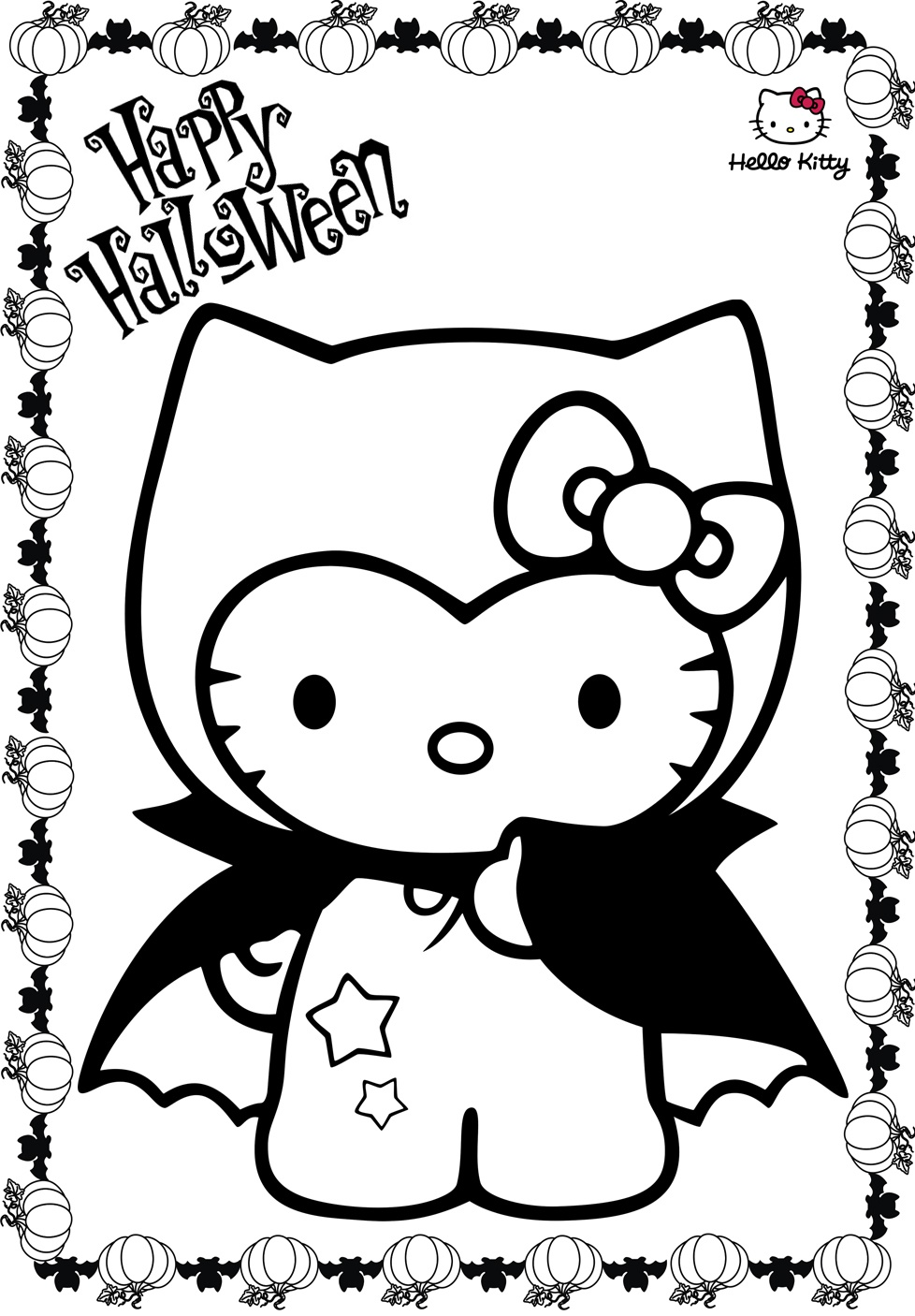 Hello Kitty Halloween Coloring Pages Vampire