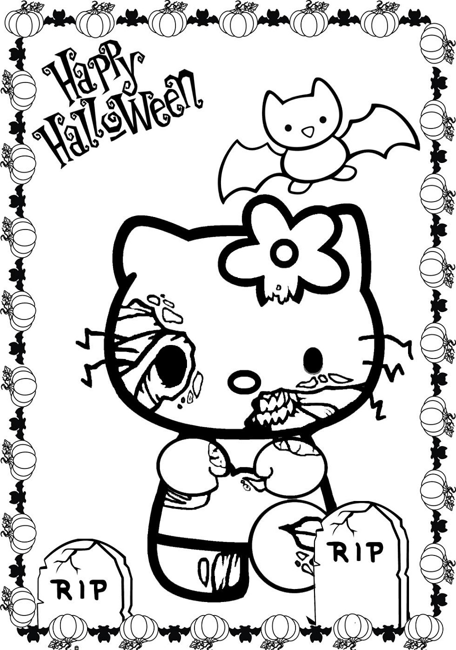 Hello Kitty Halloween Coloring Pages Zombie