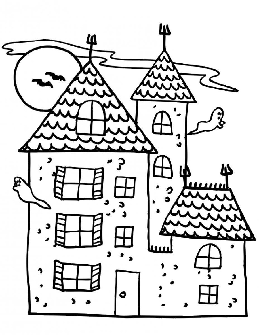 House Coloring Pages Haunted
