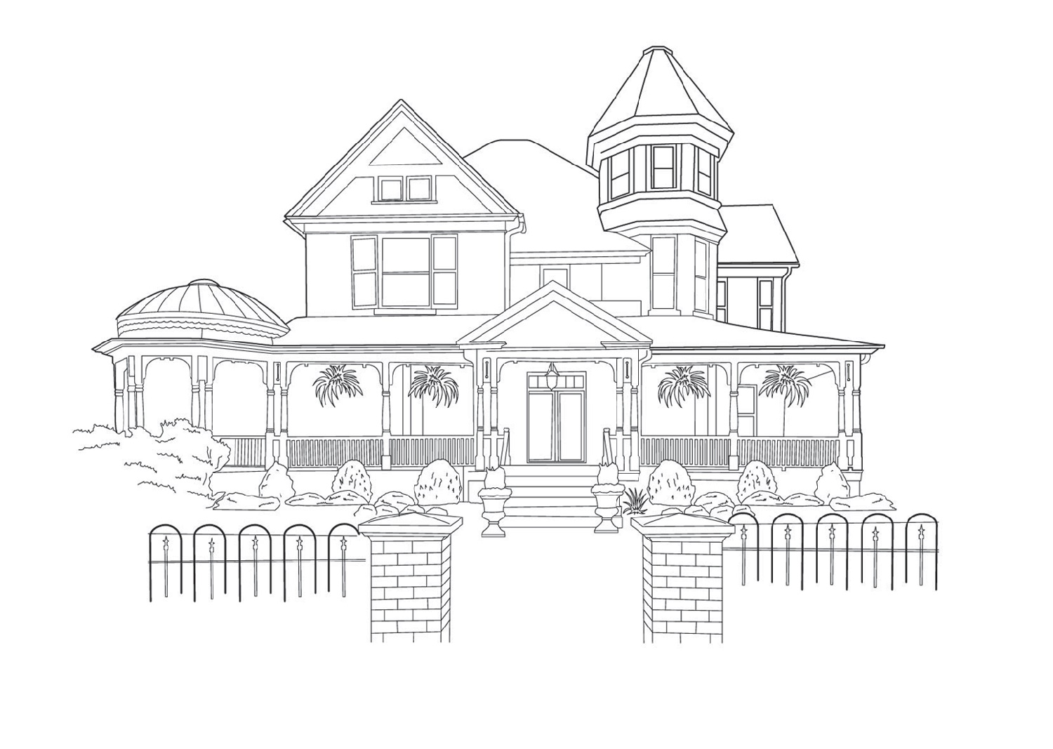 House Coloring Pages Victorian
