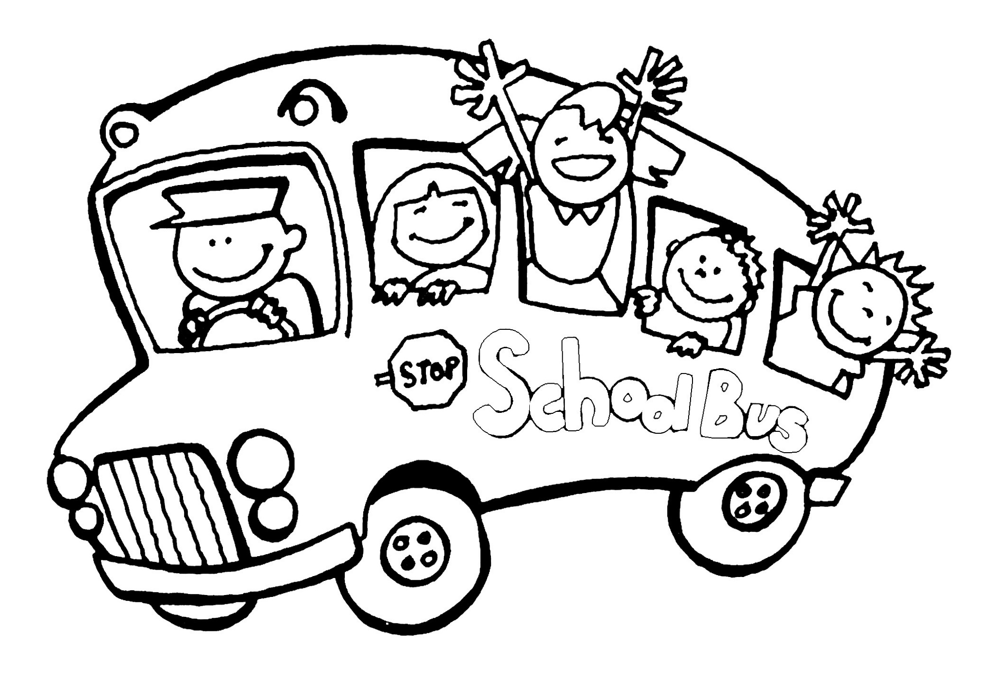 Kindergarten Coloring Pages School Bus
