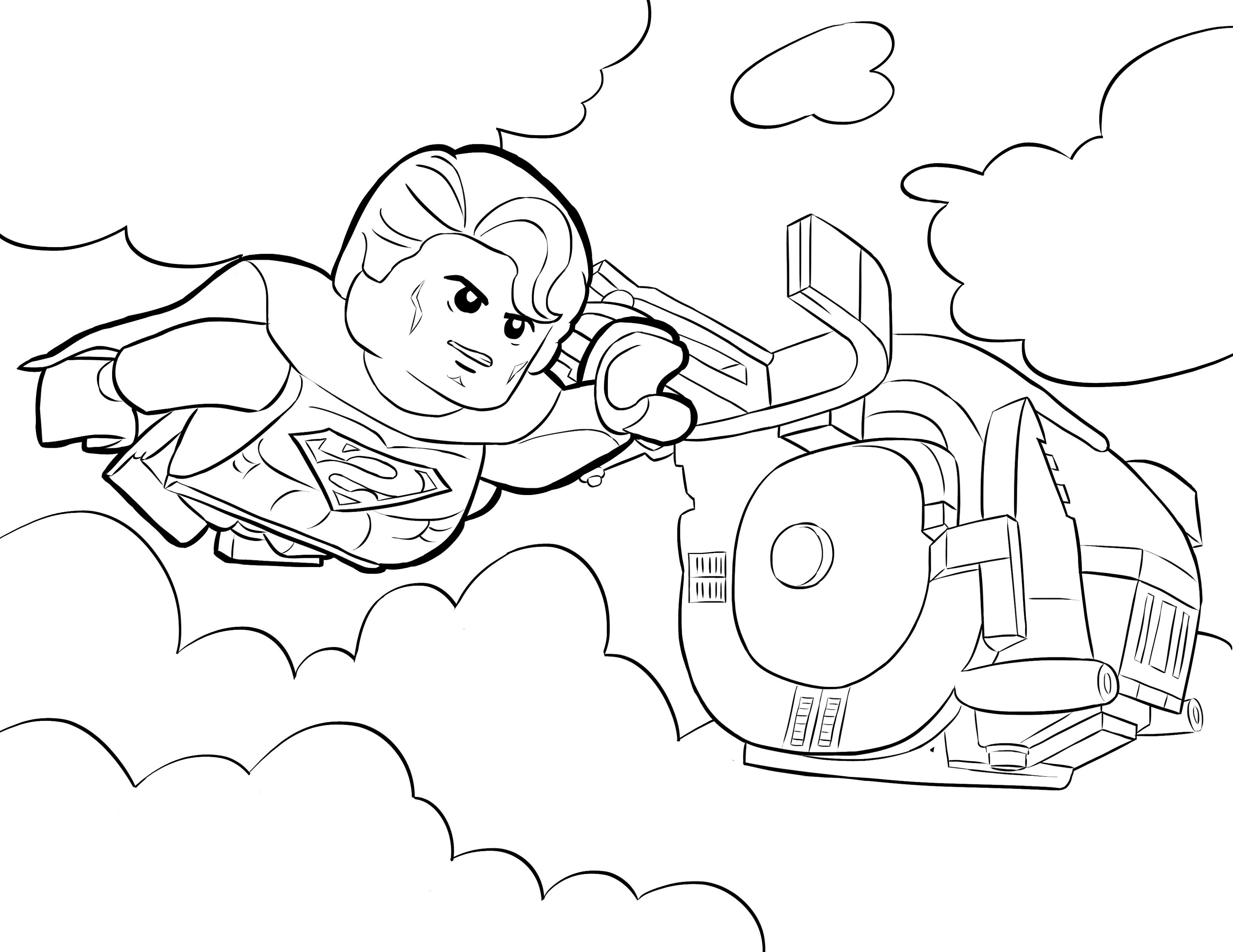 Lego Superman Coloring Pages Flying