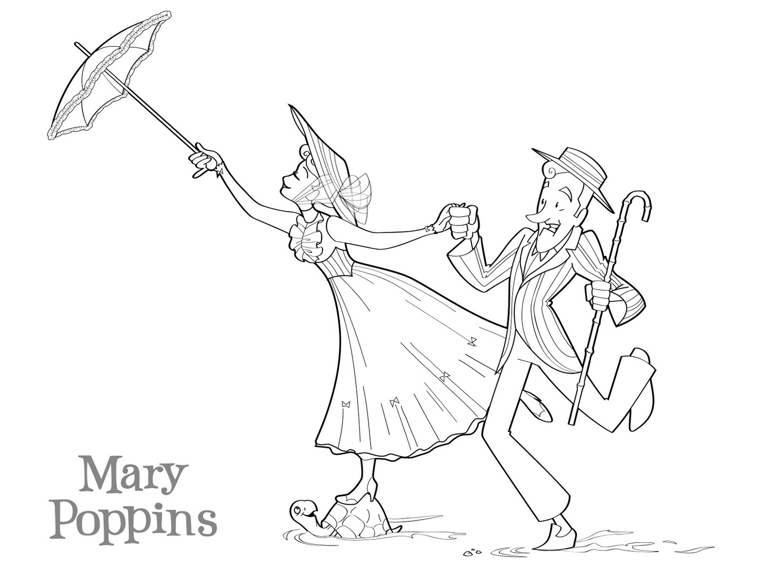 Mary Poppins Coloring Pages Disney