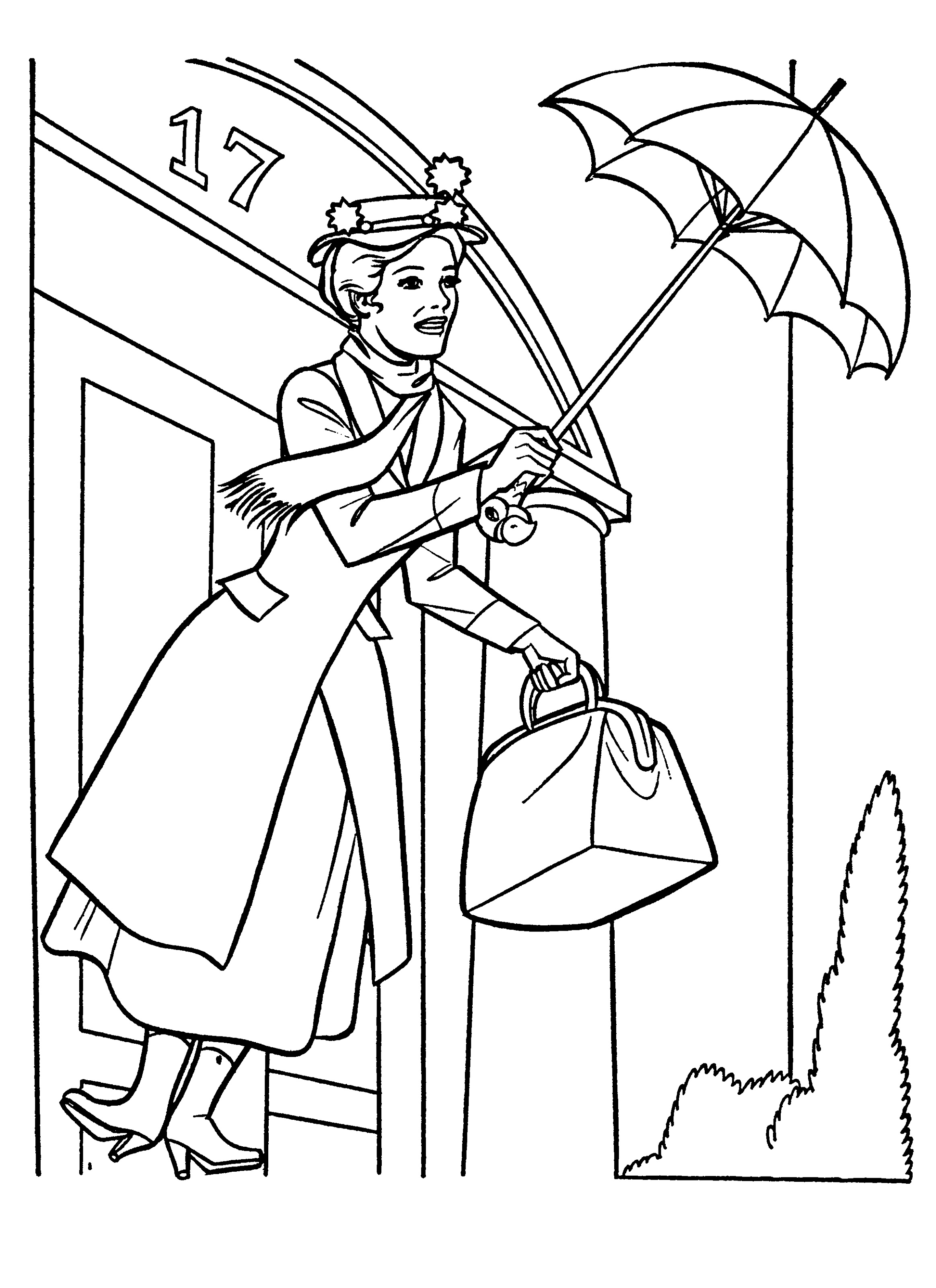 Mary Poppins Coloring Pages Umbrella