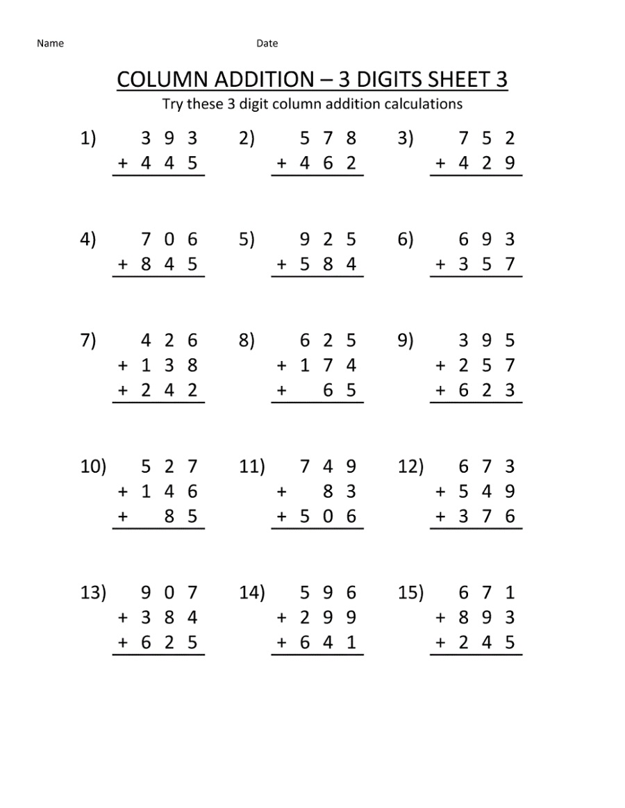 Math Sheets To Print Out Addition