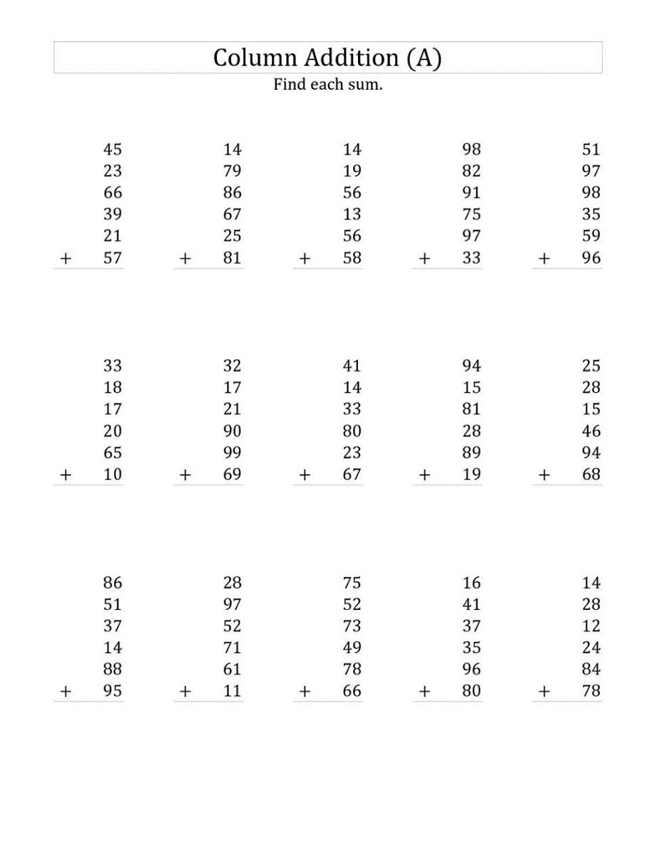Math Sheets To Print Out Column Addition
