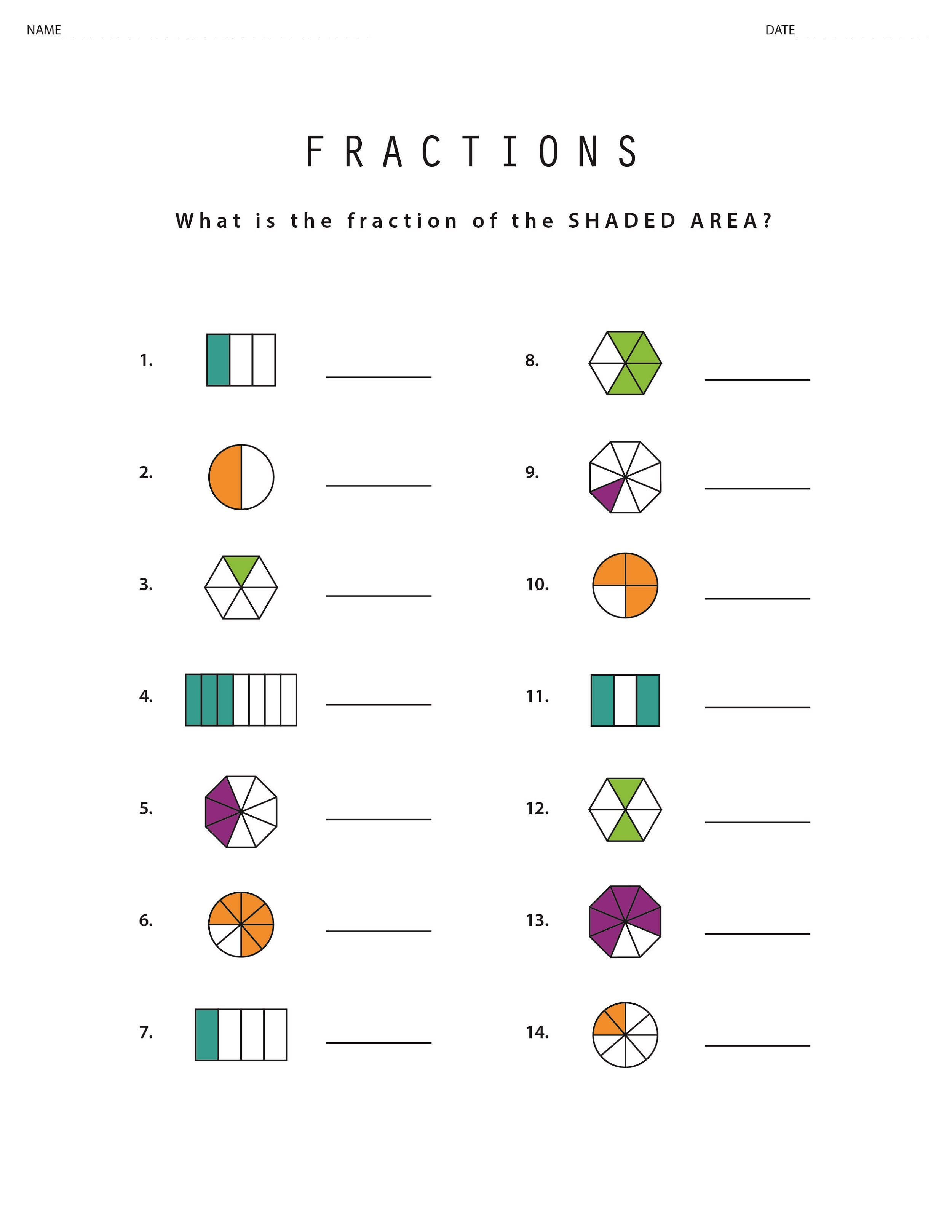 Math Sheets To Print Out Fraction