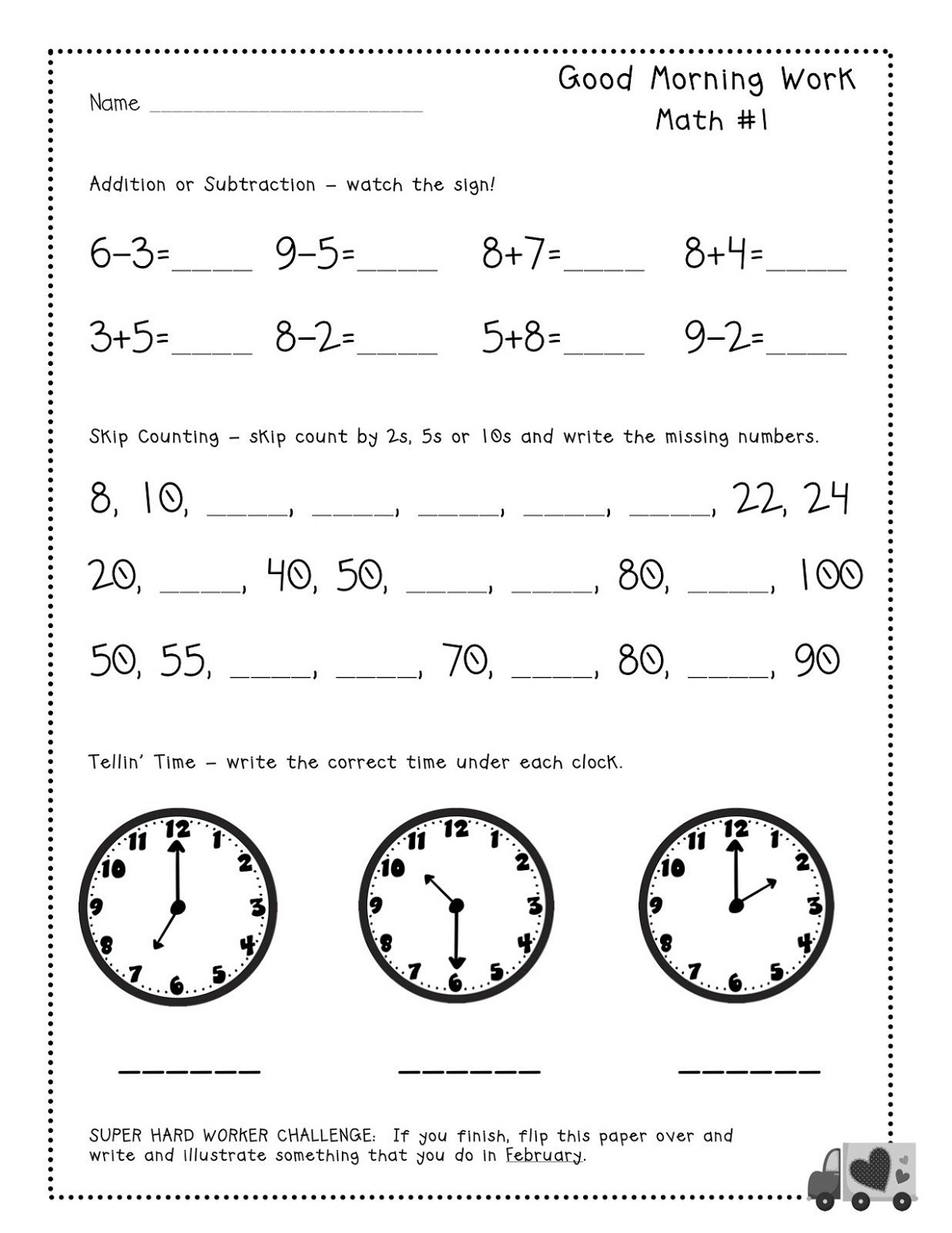 Math Work Pages For Kids