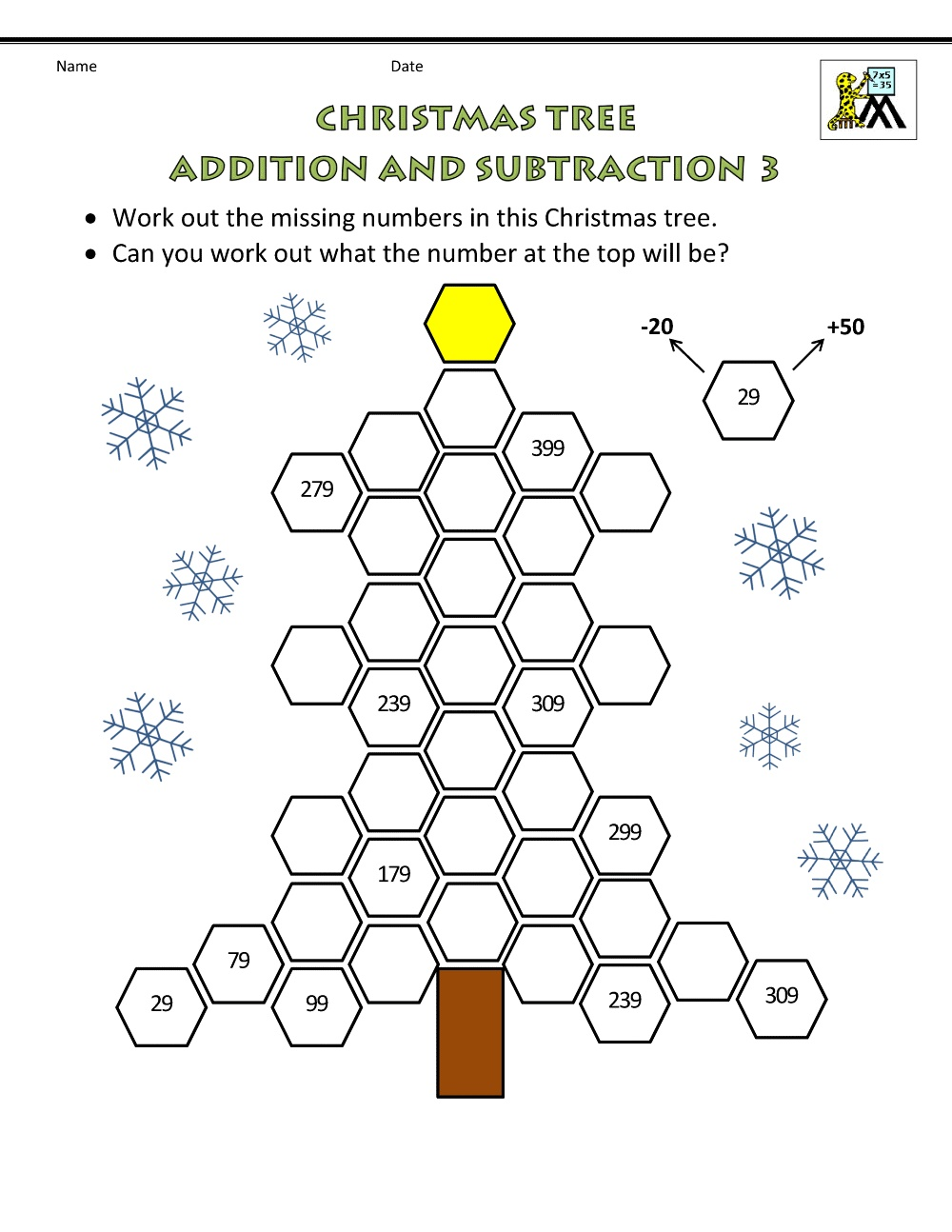 Maths Online Worksheets Christmas Tree