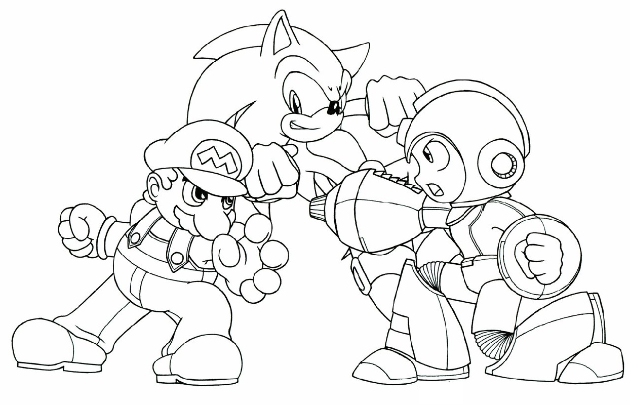 Mega Man Coloring Pages Vs Sonic Vs Mario