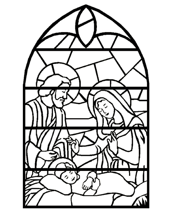 Nativity Coloring Pages Stained Glass