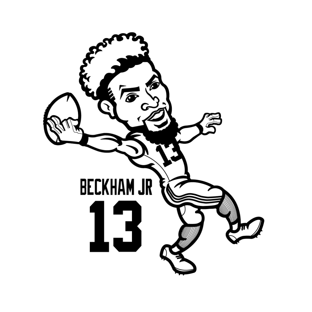 Odell Beckham Jr Coloring Page Cartoon