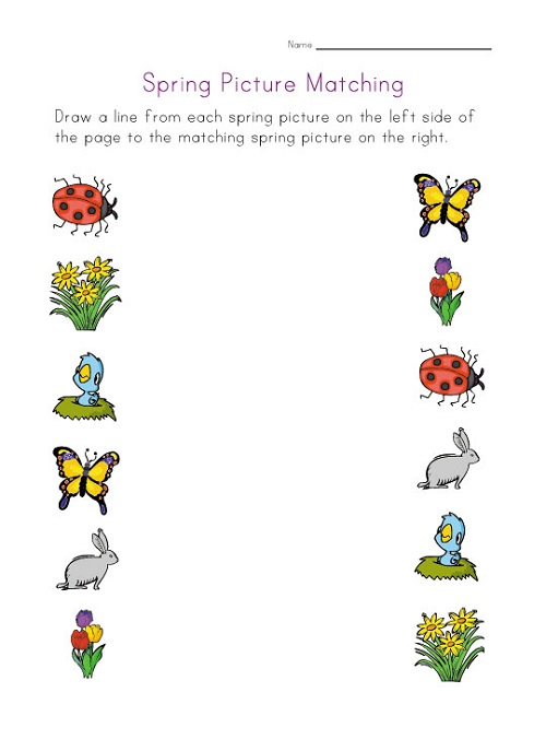 Preschool Activity Sheets Matching