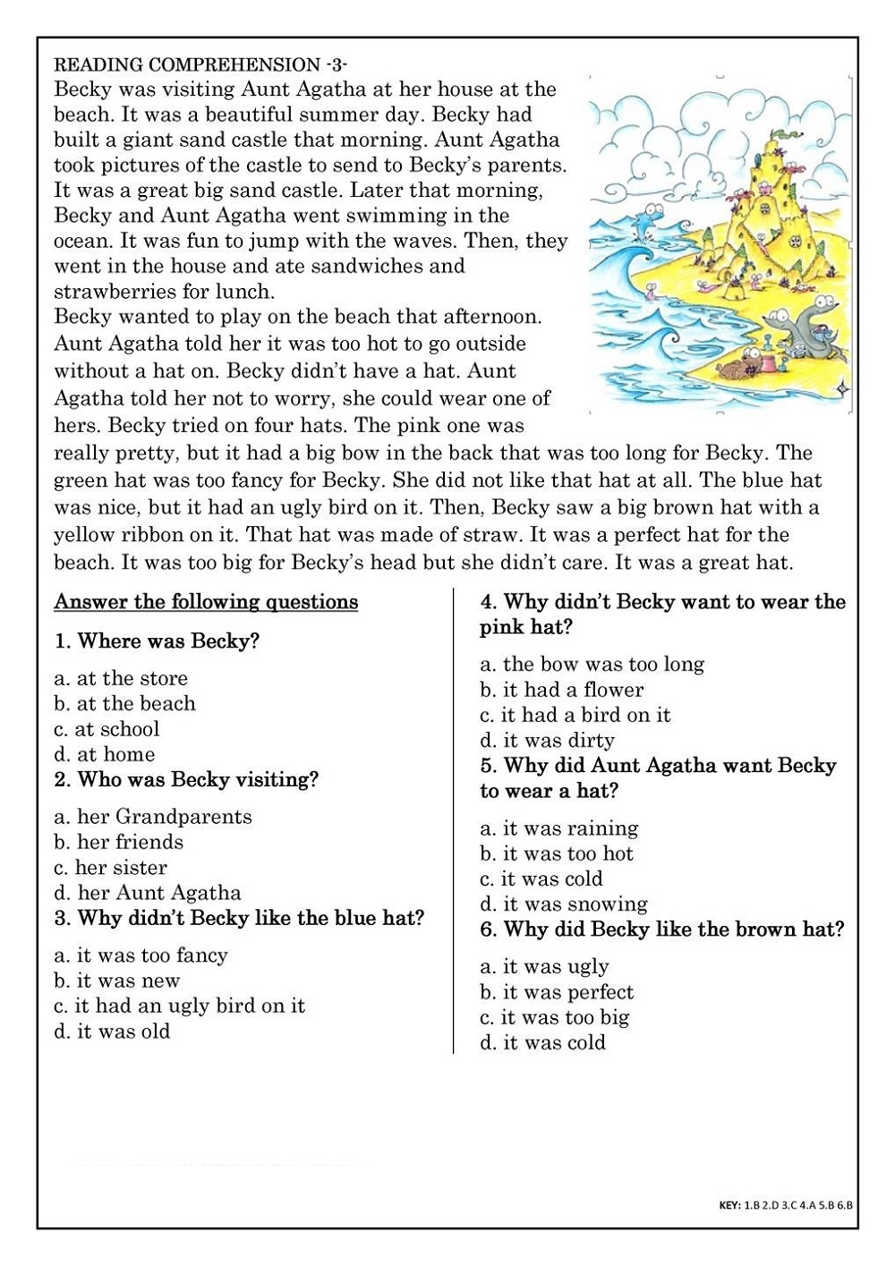 Primary School Worksheets Literacy