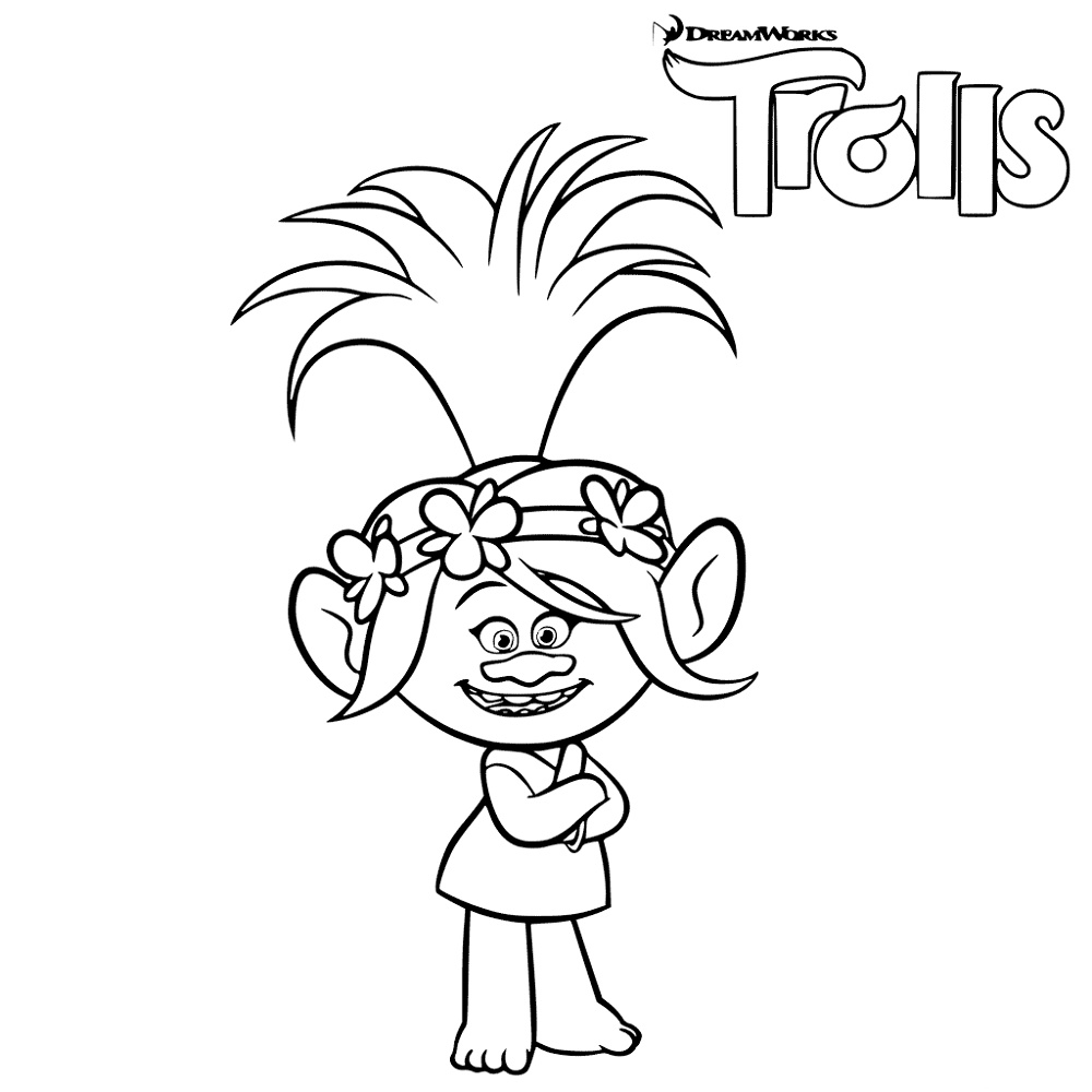 Princess Poppy Coloring Page Free