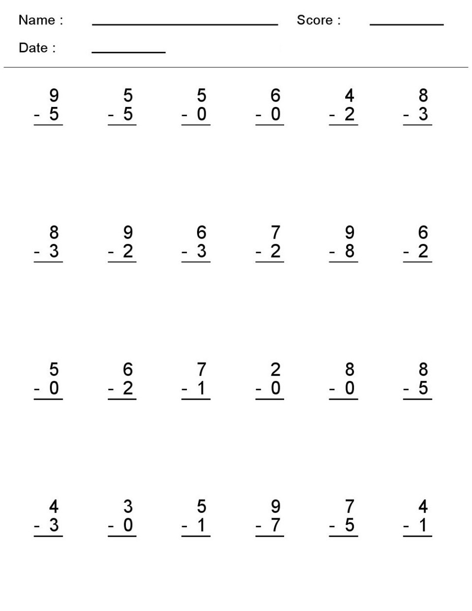 Printable Basic Math Worksheets Subtraction