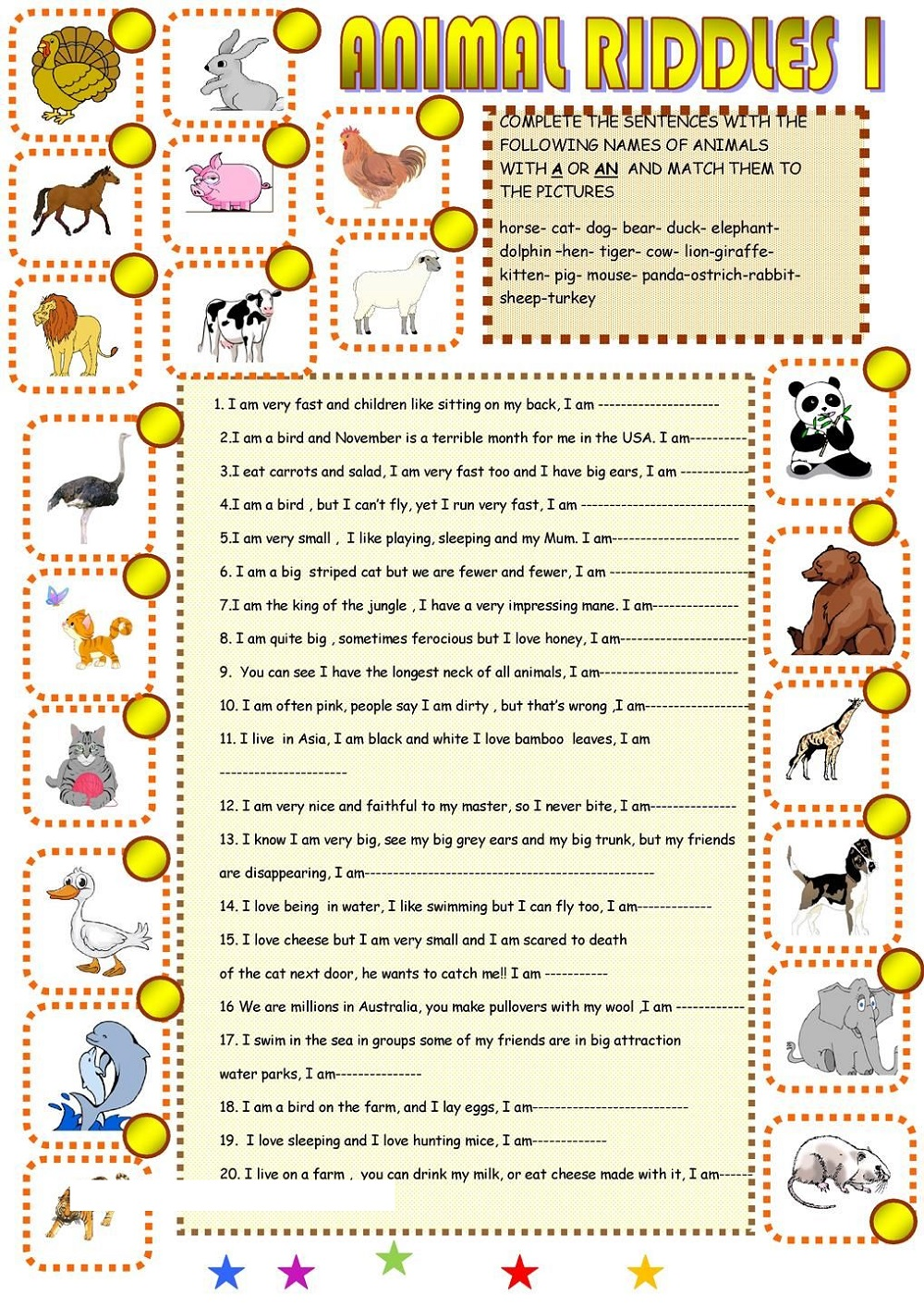 Printable Educational Worksheets Animal