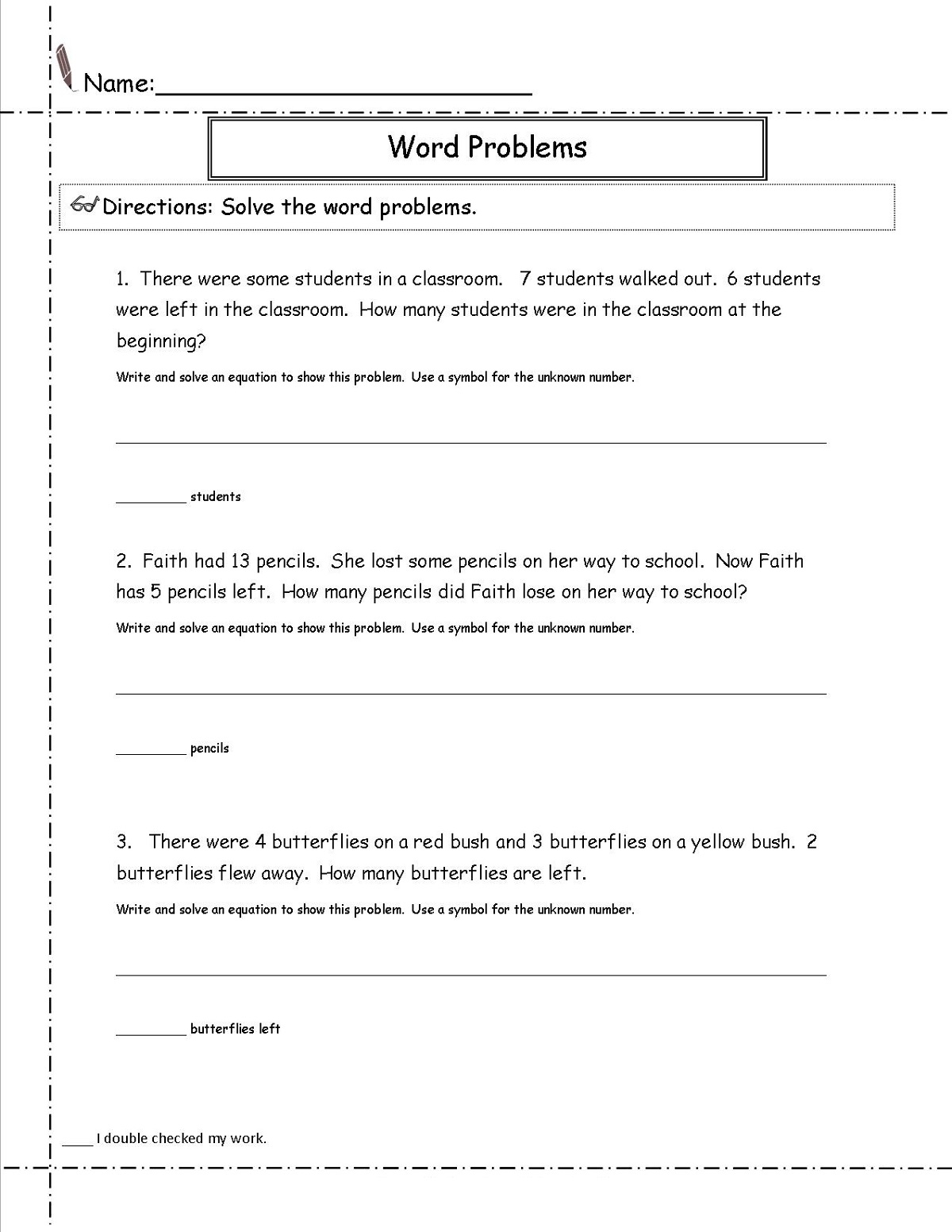 Printable Math Problems Grade 3
