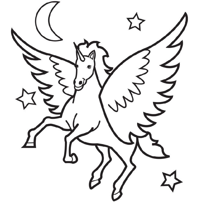 Printable Unicorn Coloring Pages Winged