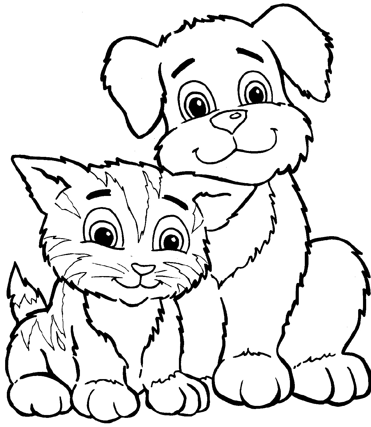 Puppy And Kitten Coloring Pages Cute
