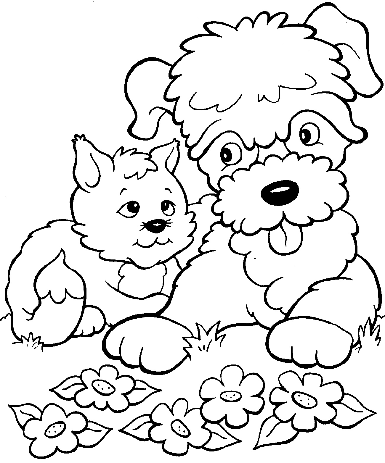 Puppy And Kitten Coloring Pages For Kids