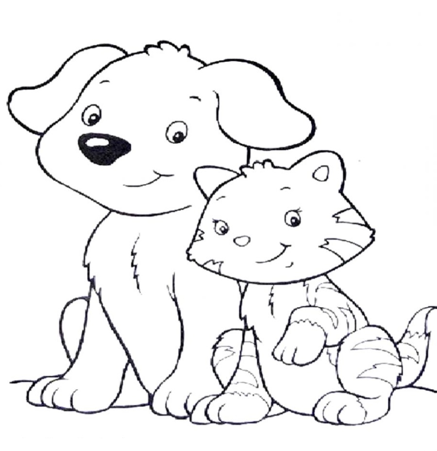 Puppy And Kitten Coloring Pages Free