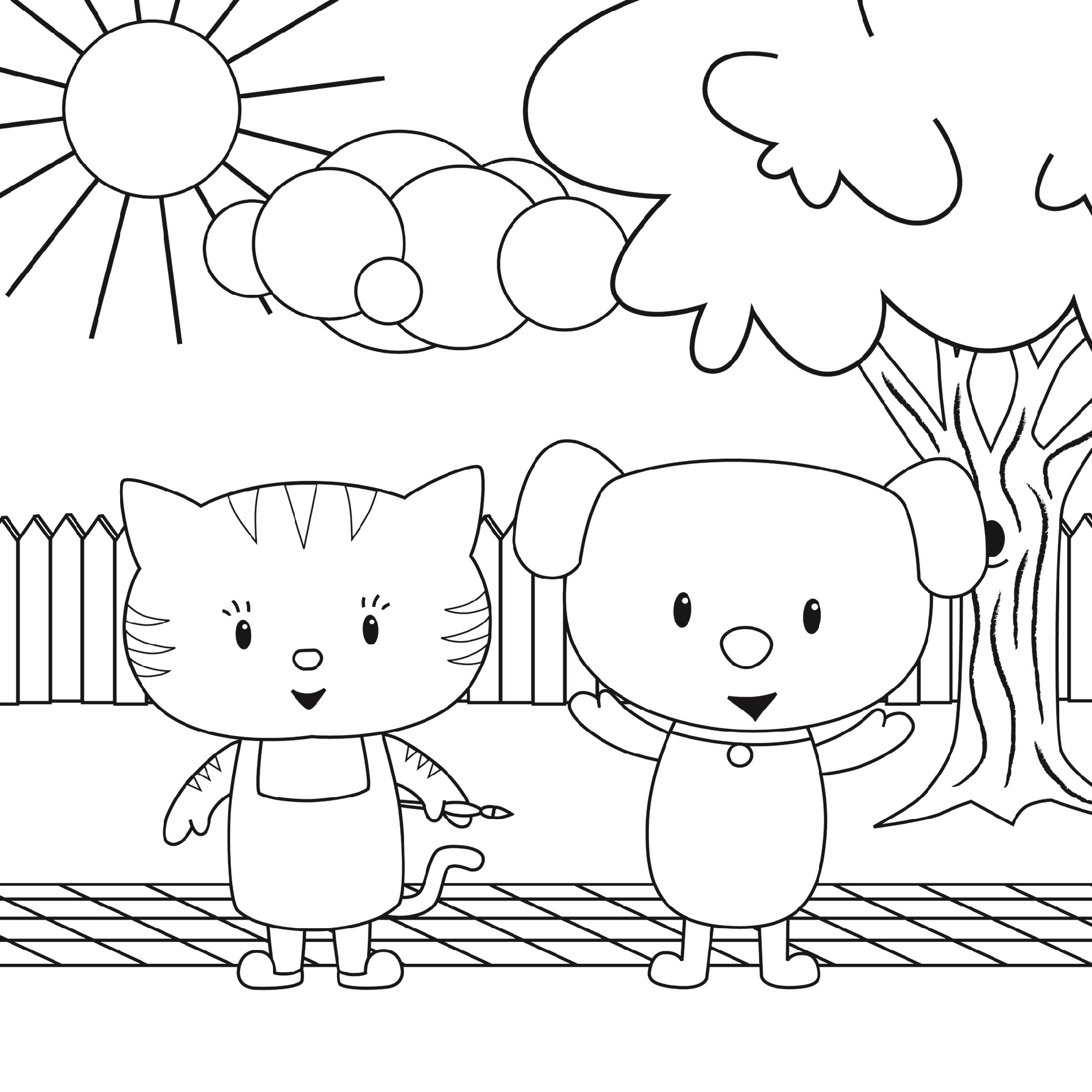 Puppy-And-Kitten-Coloring-Pages-Printable