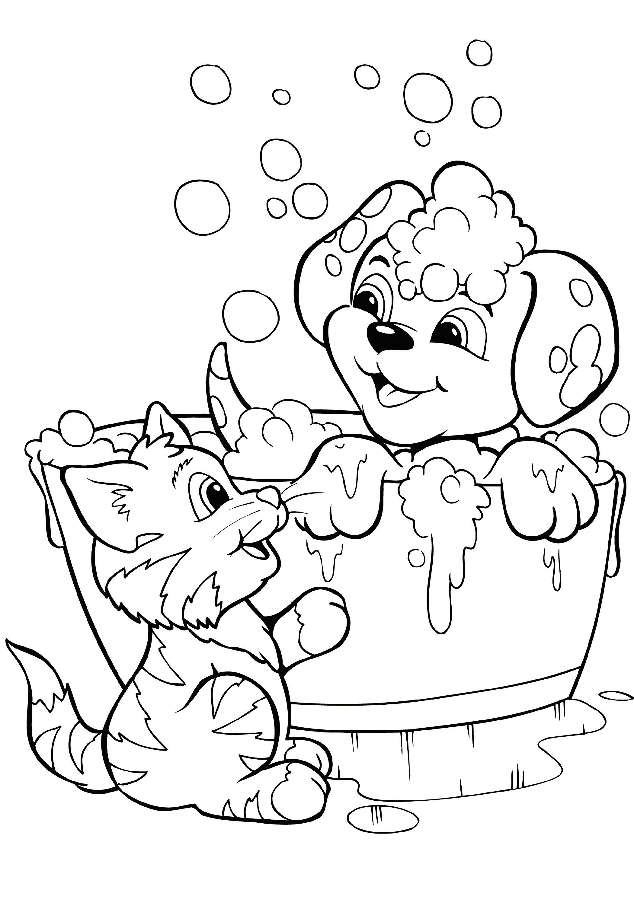 Puppy And Kitten Coloring Pages To Print