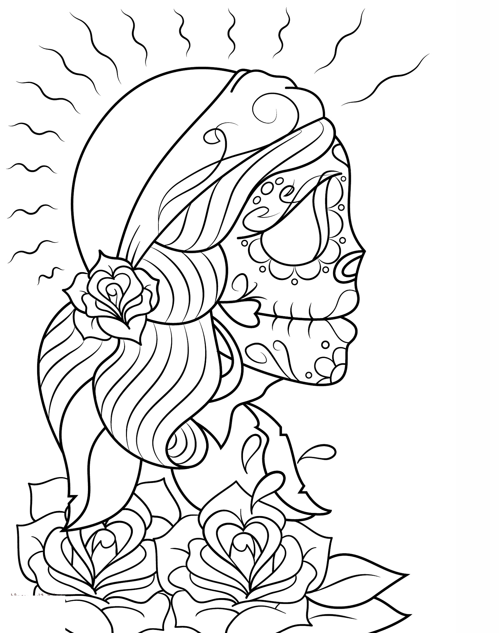 Skull Coloring Pages Girl
