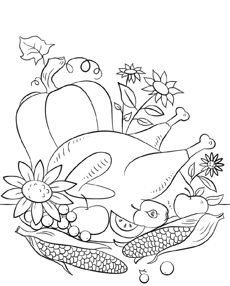 Thanksgiving Coloring Pages Free Food