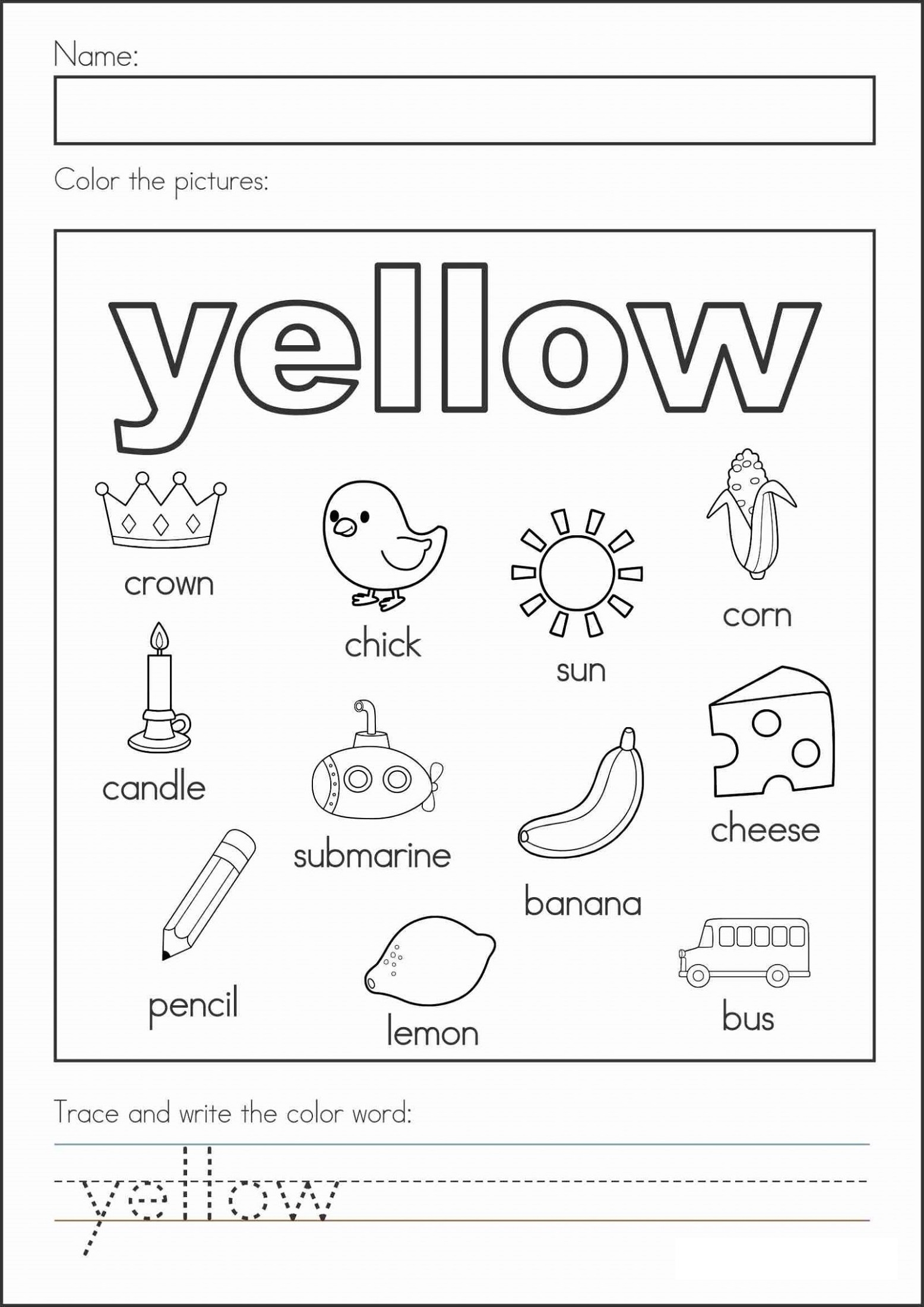 Worksheet Printables Colors