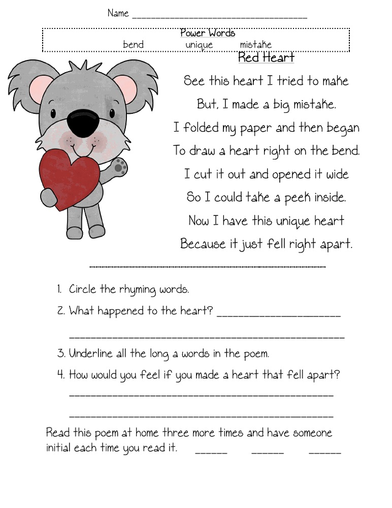 Worksheets To Print Reading