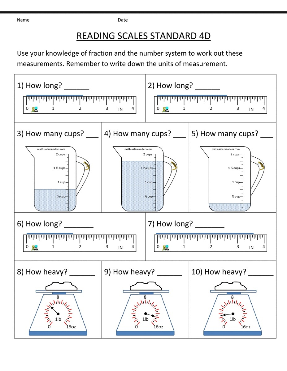 Year 5 Maths Worksheets Scales