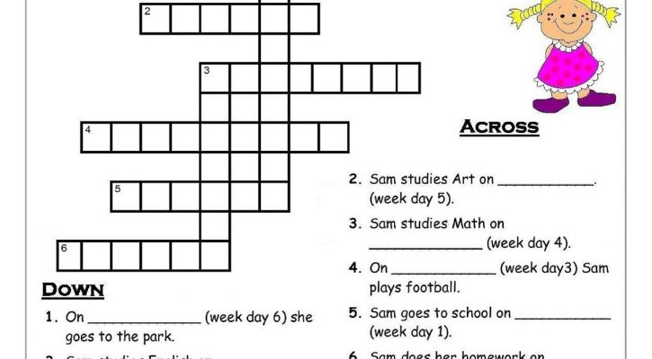 Activity Sheets For 9 Year Olds Days Of The Week