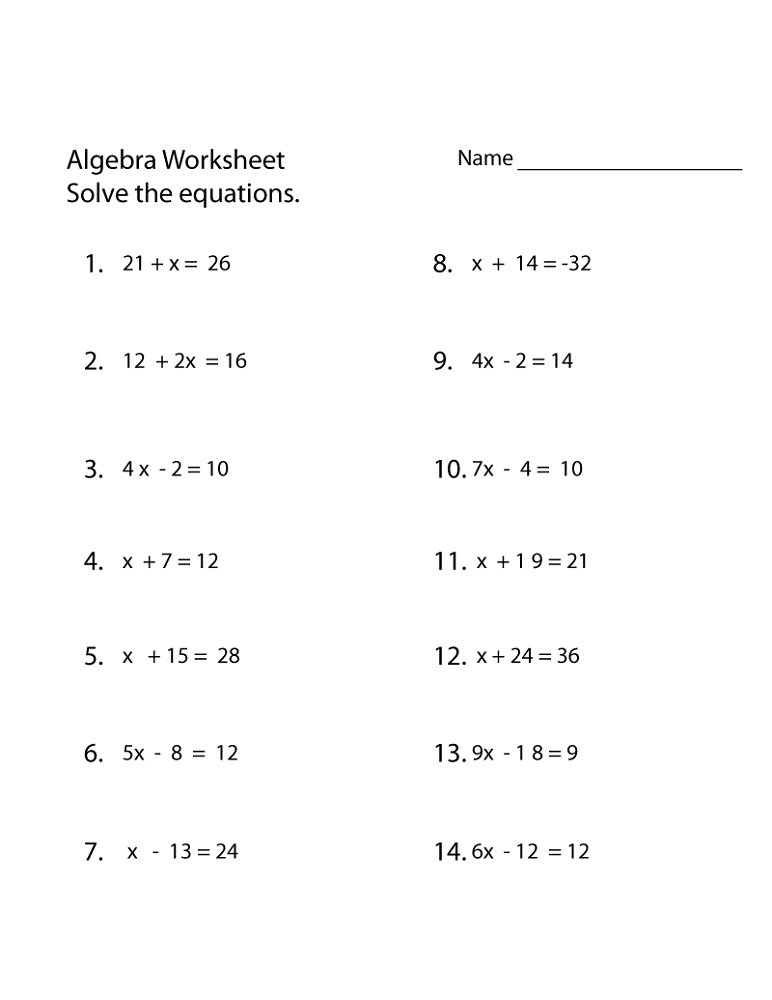 Algebra Worksheets Simple