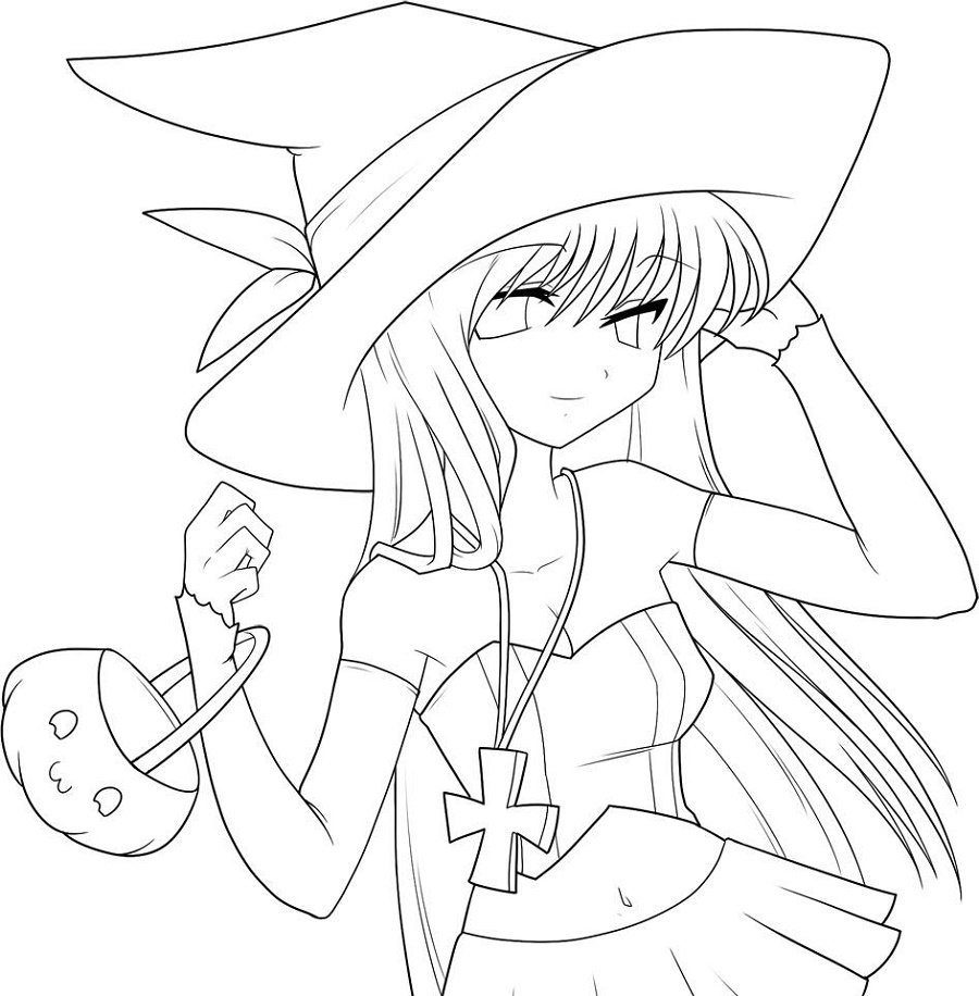 Anime Coloring Pages Printable Witch