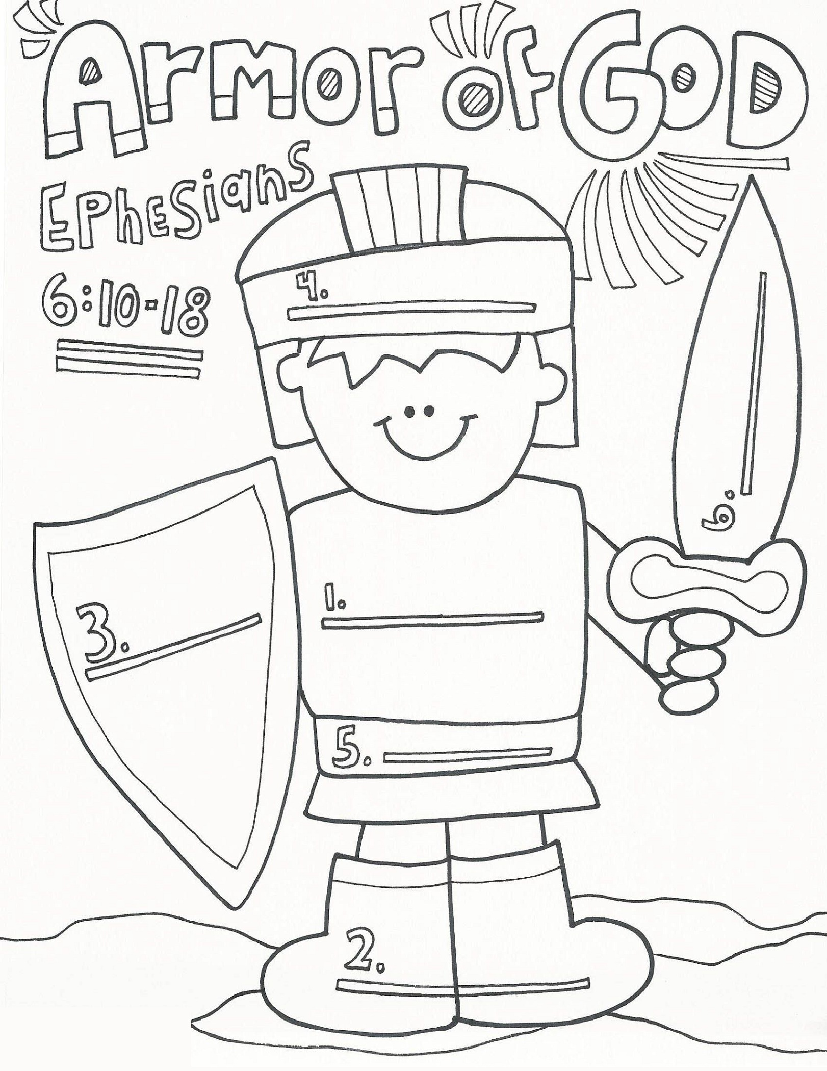Armor Of God Coloring Pages For Kids