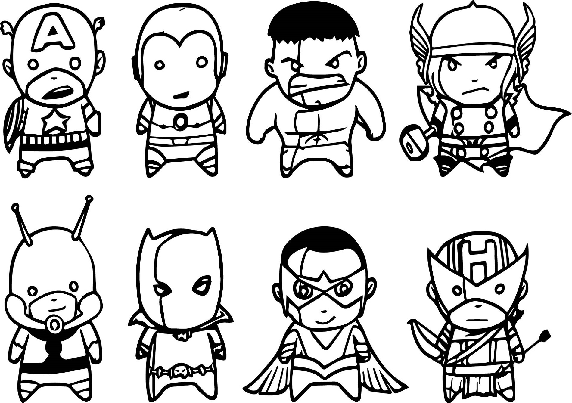Avengers Coloring Pages Chibi